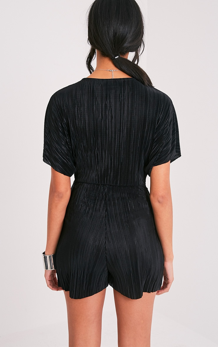 Tilly Black Pleated Knot Front Playsuit  2