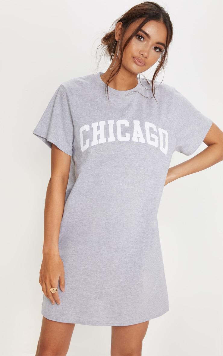 Robe t-shirt oversized grise à slogan Chicago 1