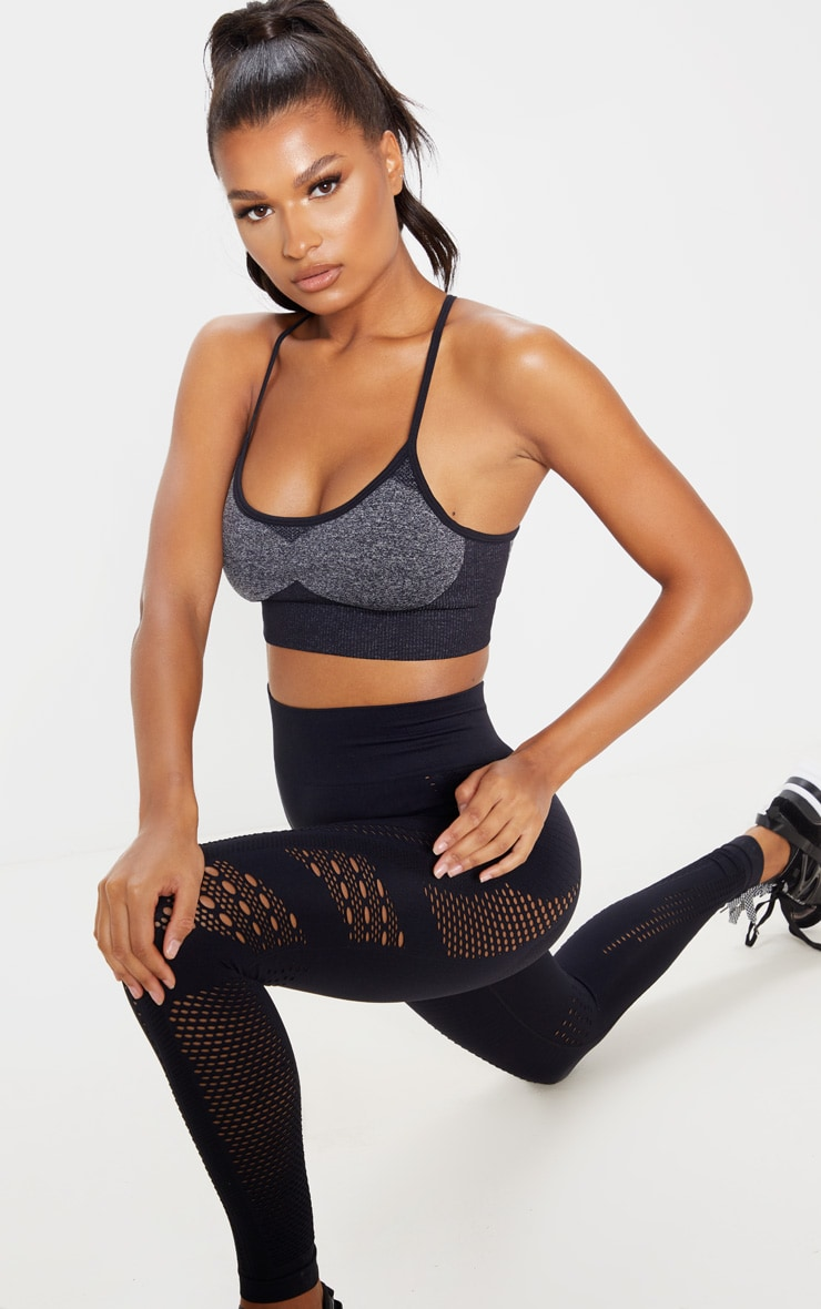 Black Seamless Long Line Sports Bra Top 4