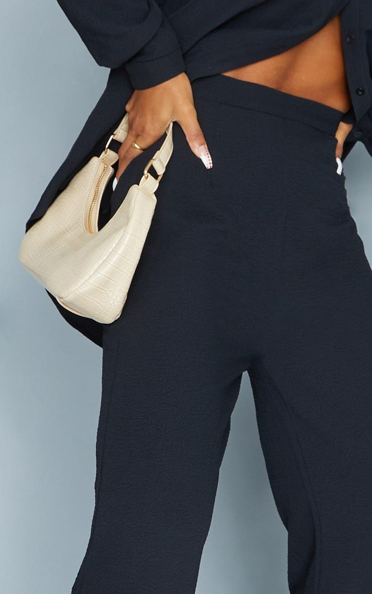 Black Textured Crinkle Wide Leg Pants 4