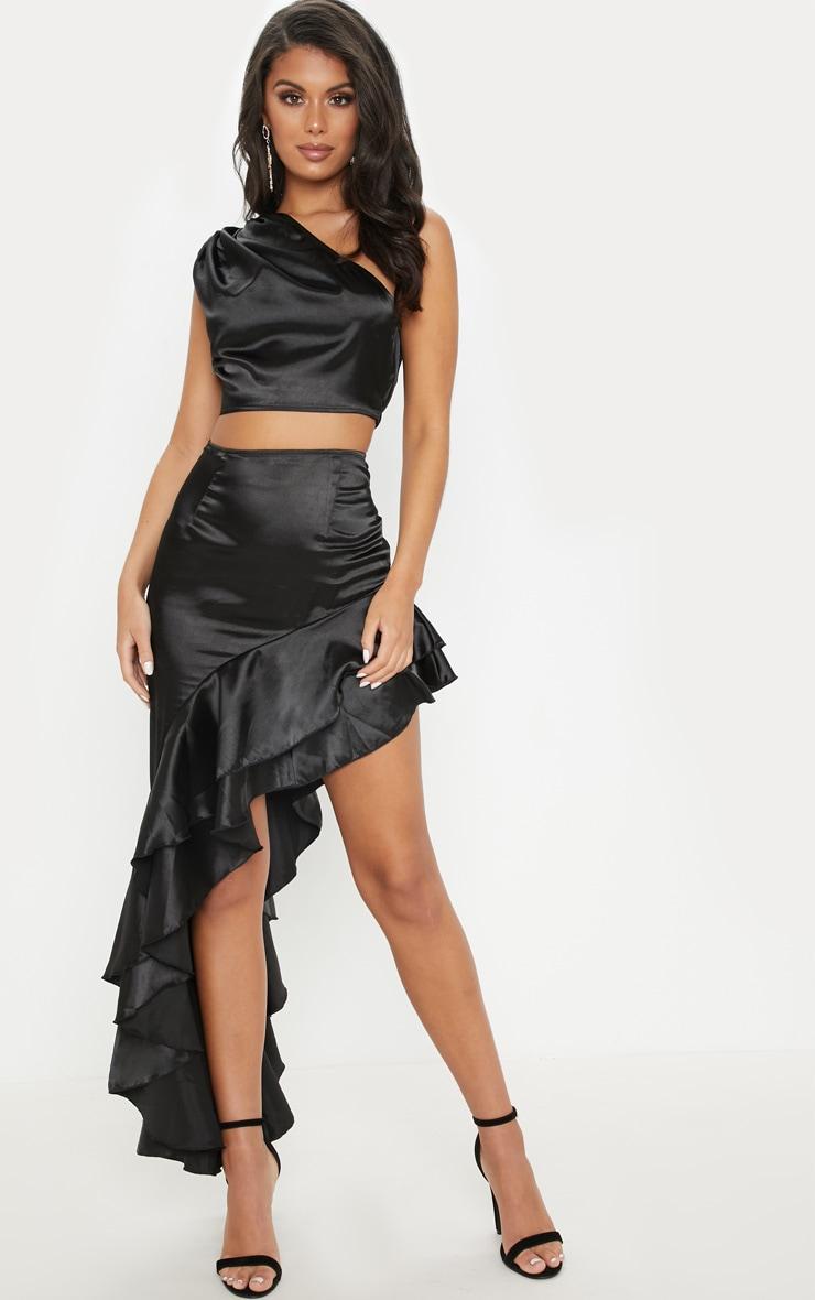 Black Asymmetric Frill Midaxi Skirt 1