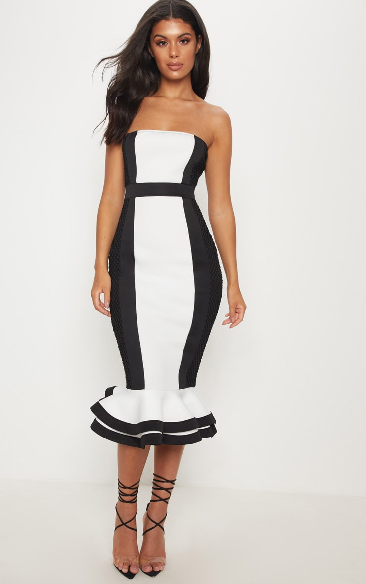 Monochrome Bandeau Contrast Detail Fishtail Midi Dress 1