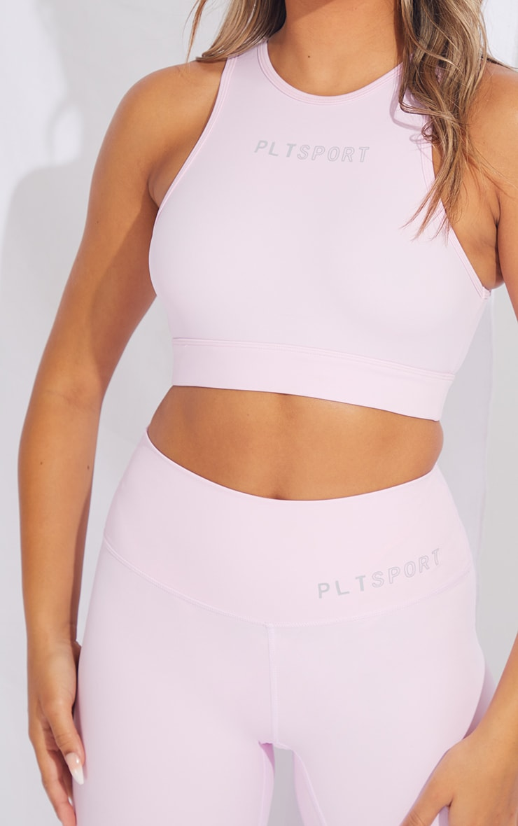 PRETTYLITTLETHING Pink Sculpt Luxe Cropped Gym Top 4