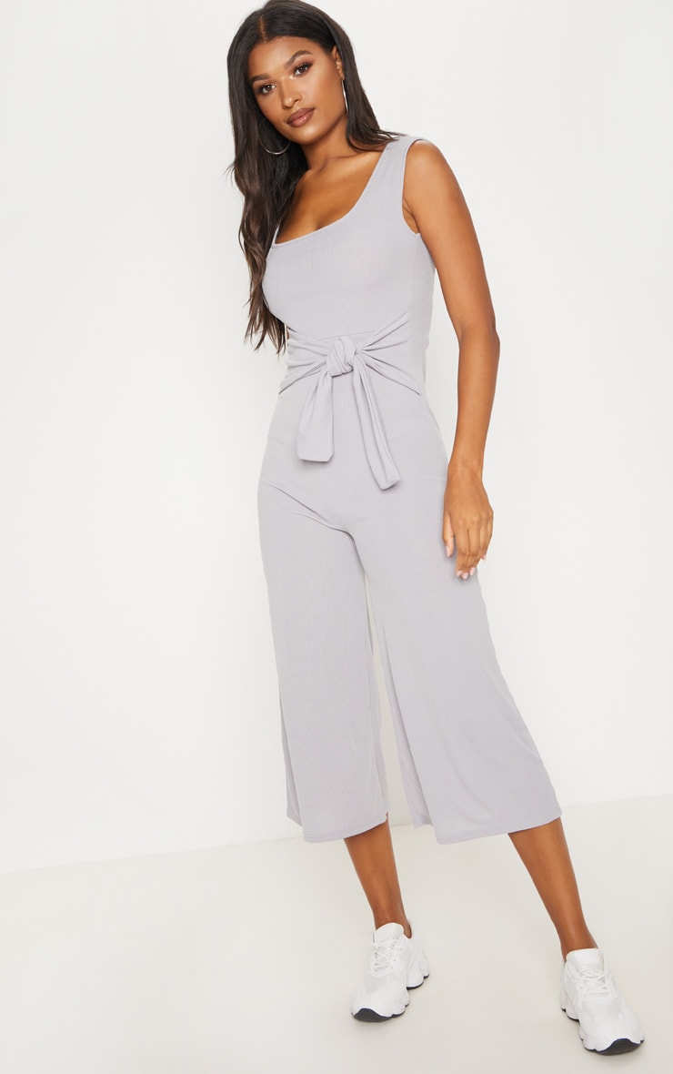 Grey Ribbed Tie Waist Culotte Jumpsuit 4