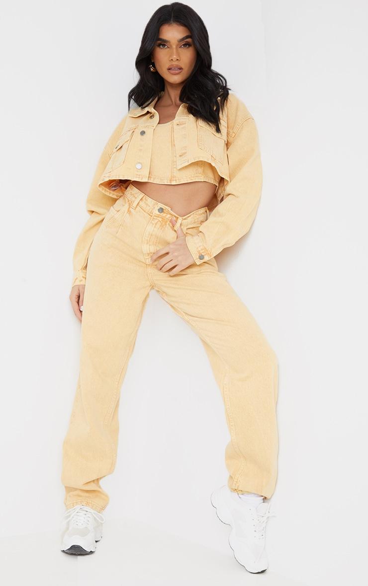 Yellow Washed Cropped Denim Jacket 3