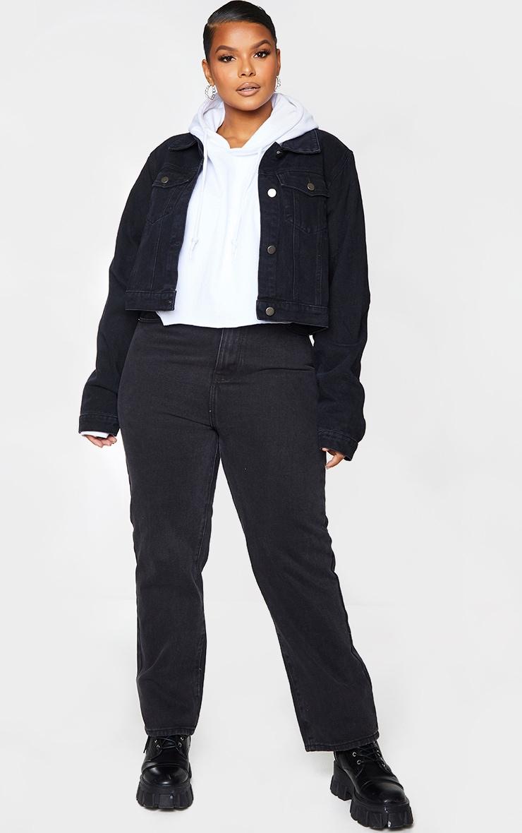 PRETTYLITTLETHING Plus Black Cropped Denim Jacket 1
