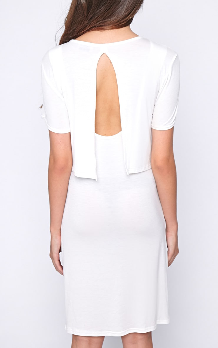 Fran White Layered Tshirt Dress with Open Back  2