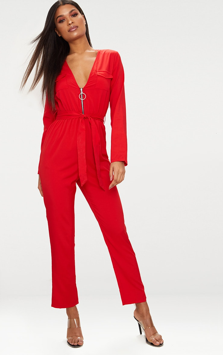 Red O Ring Zip Utility Jumpsuit 3