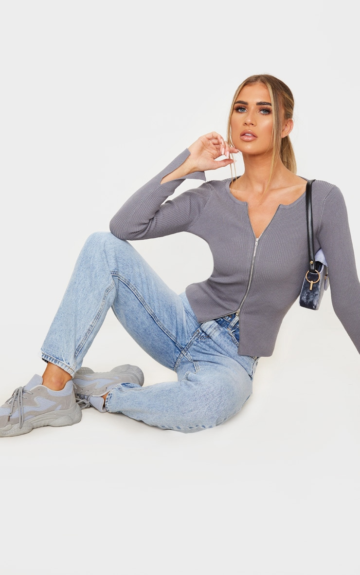 Charcoal Grey Zip Front Knit Top 4