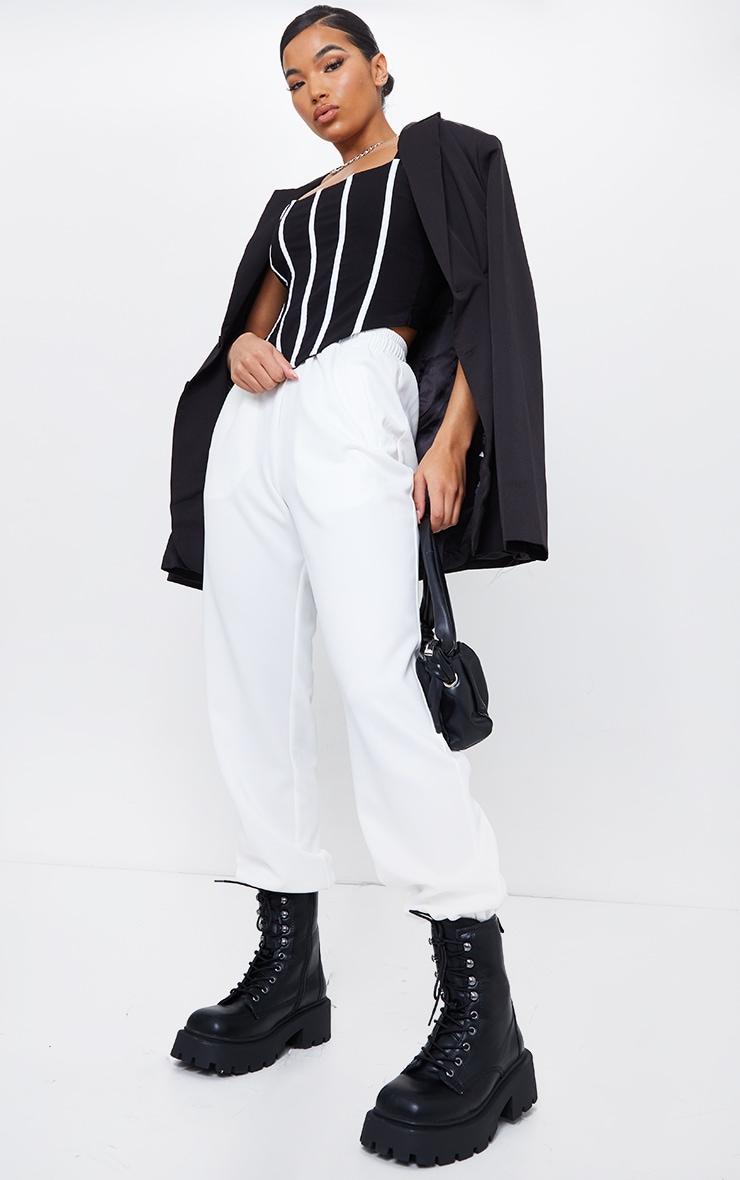 Black Woven Contrast Binding Corset Crop Top 3