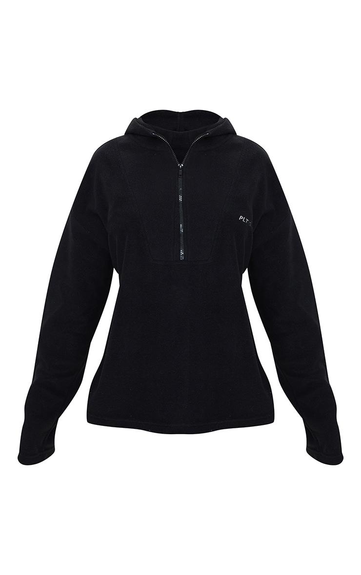 PRETTYLITTLETHING - Polaire noire à capuche et zip 5