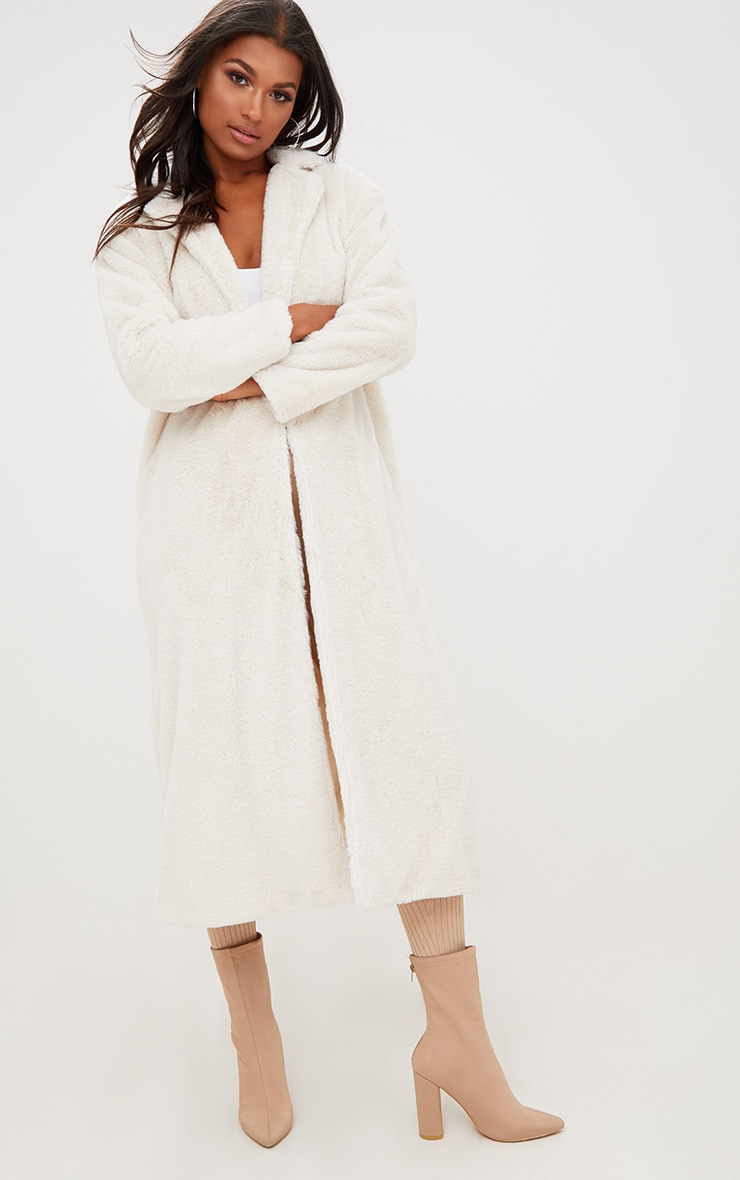 Cream Longline Faux Fur Coat 4