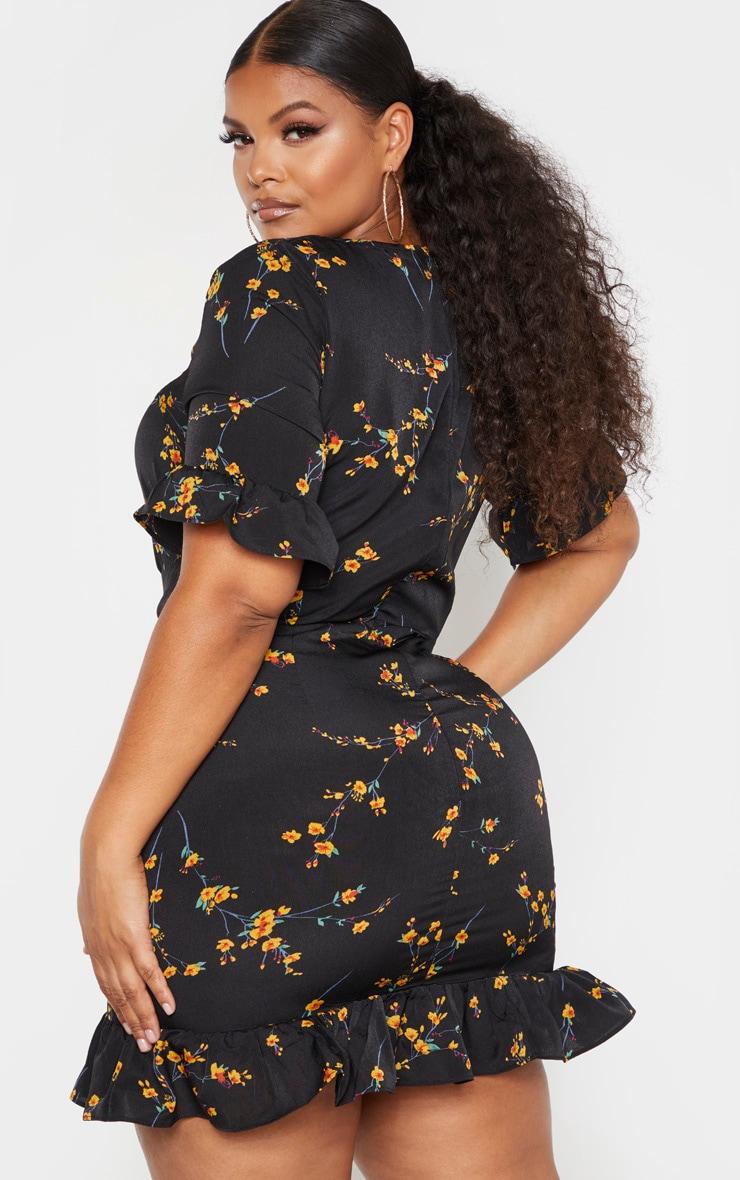 PLT Plus - Robe fluide noire à imprimé floral et corset 2