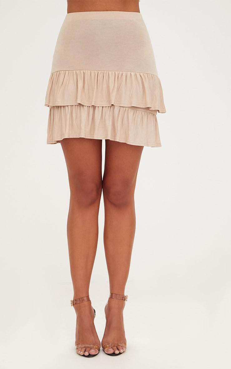 Stone Tiered Frill Jersey Mini Skirt 2