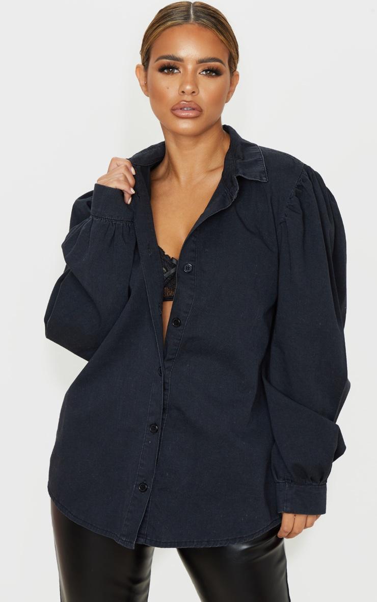 Petite Black Washed Balloon Sleeve Denim Shirt 1