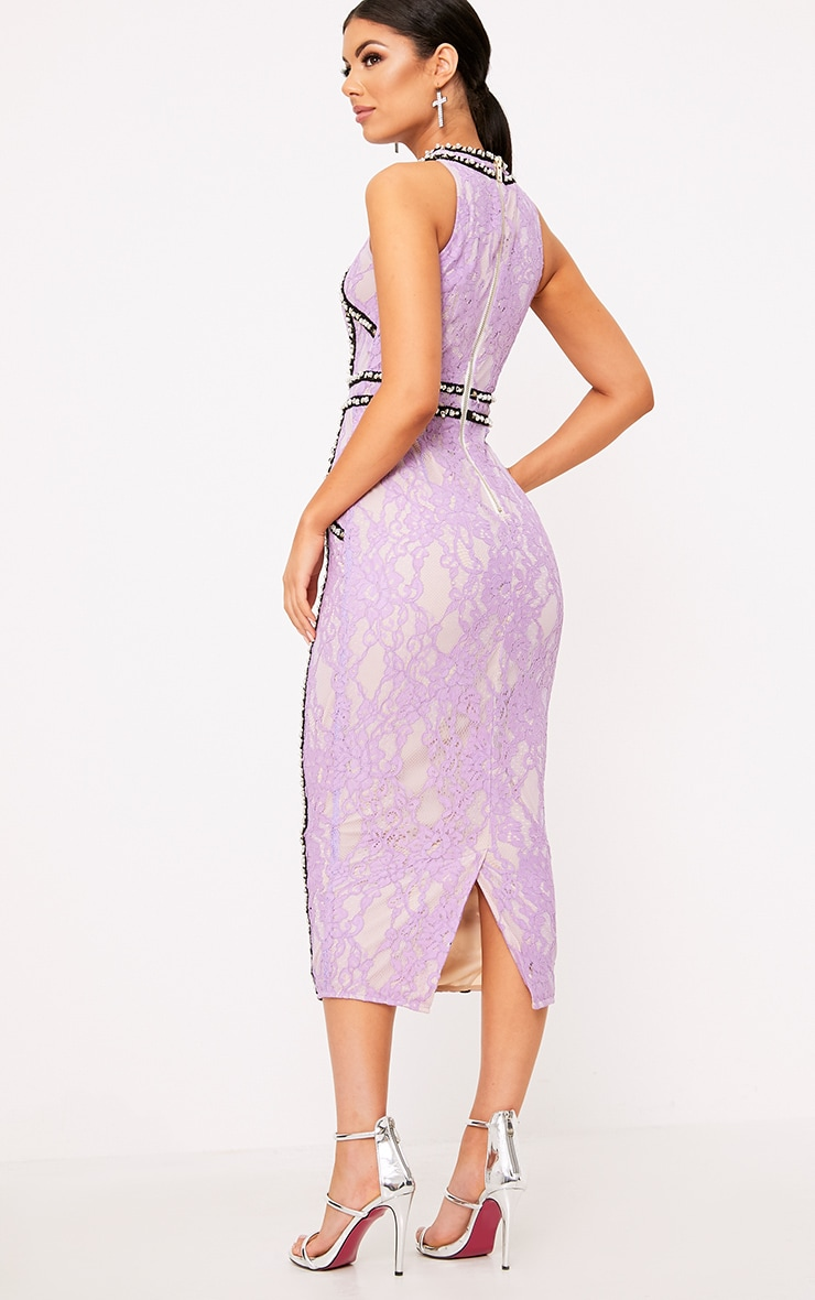 Francessia Lilac Premium Embellished Midi Dress 5