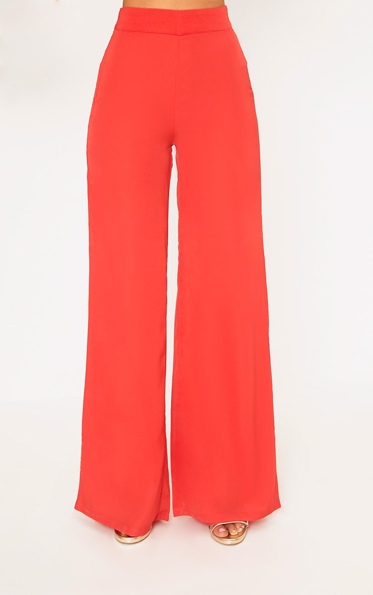 Red Wide Leg Suit Trousers 2