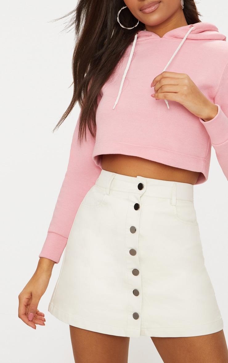 White Coated A-Line Skirt 5