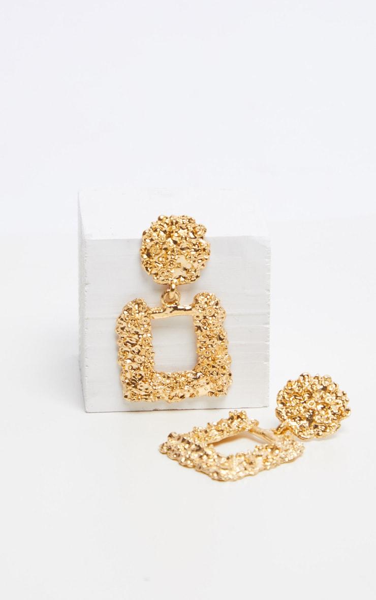 Gold Textured Mini Door Knocker Earrings 2