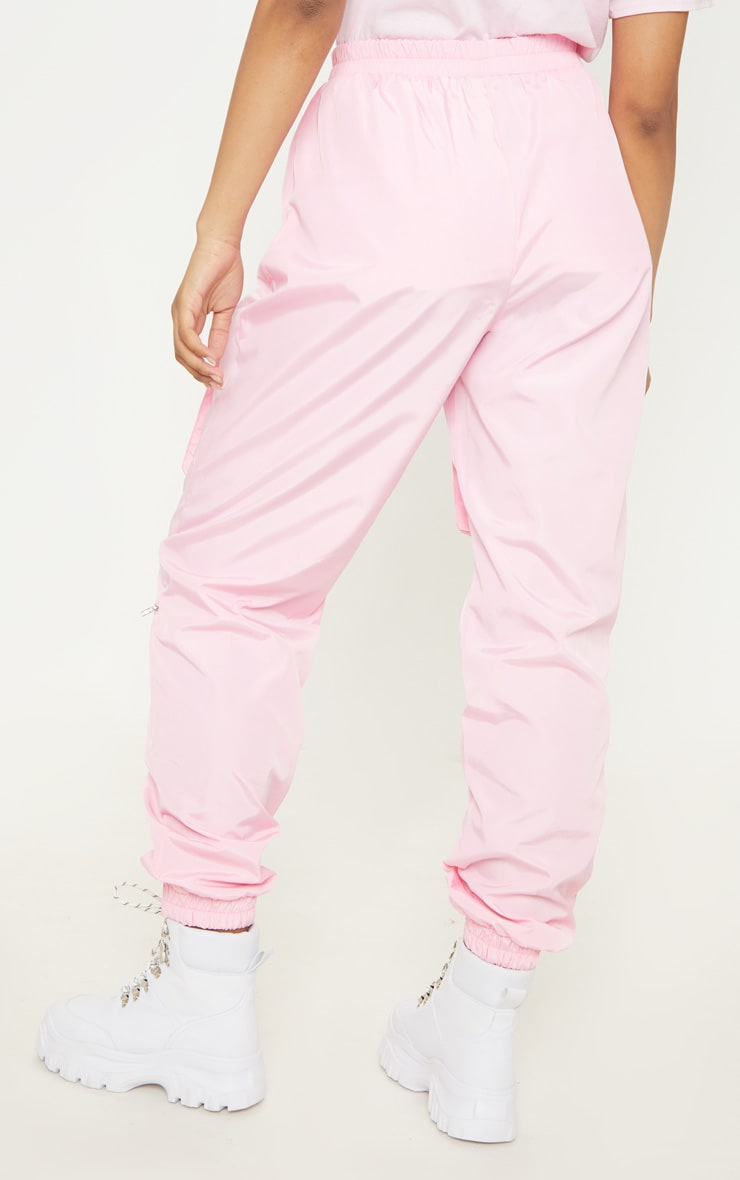 Tall Baby Pink Cargo Zip Pocket Detail Trousers 4