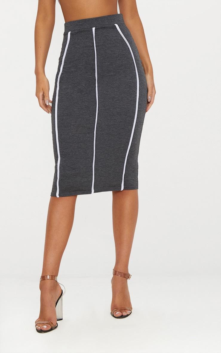 Charcoal Jersey Binding Detail Midi Skirt 2