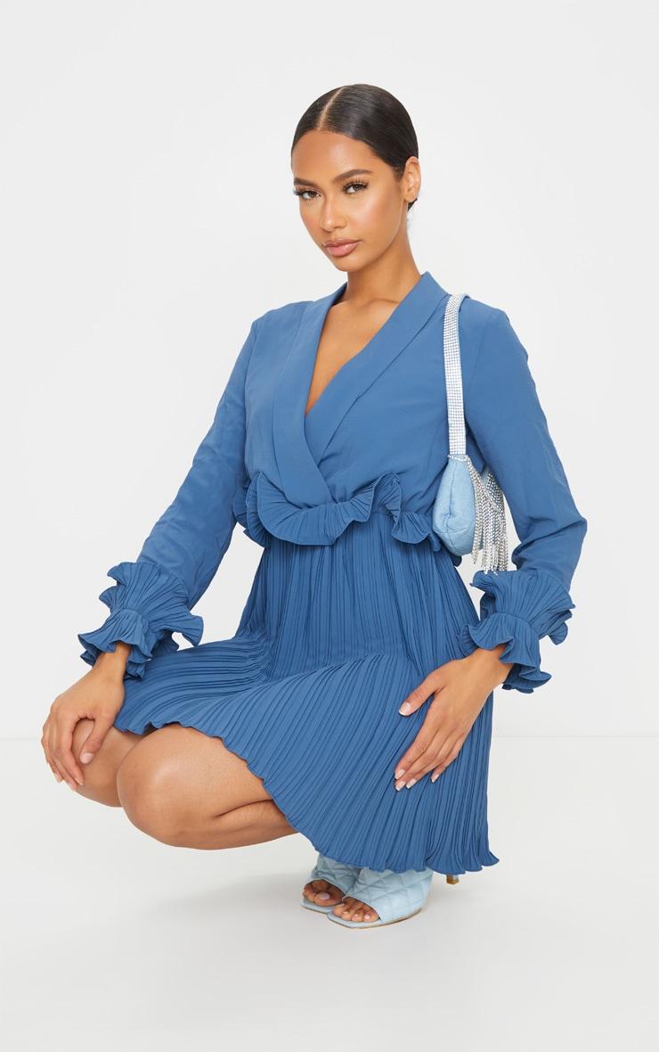 Steel Blue Long Sleeve Pleated Skater Dress 3