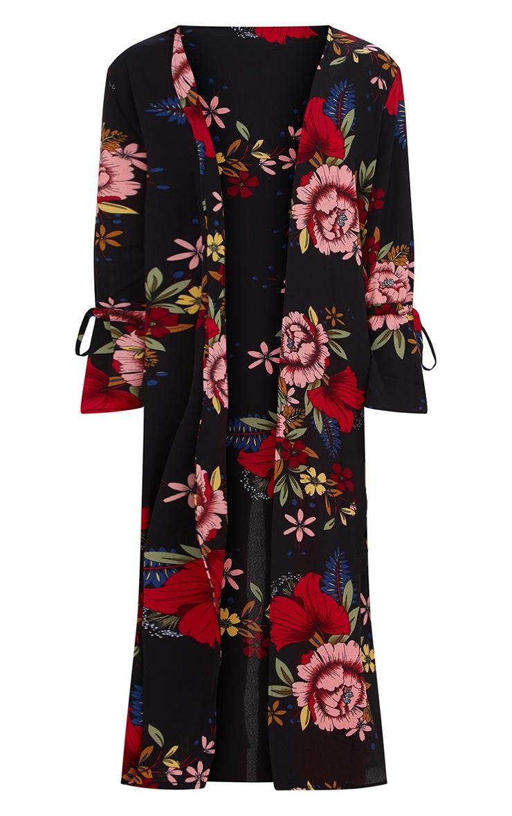 Black Floral Tie Sleeve Kimono Jacket 3