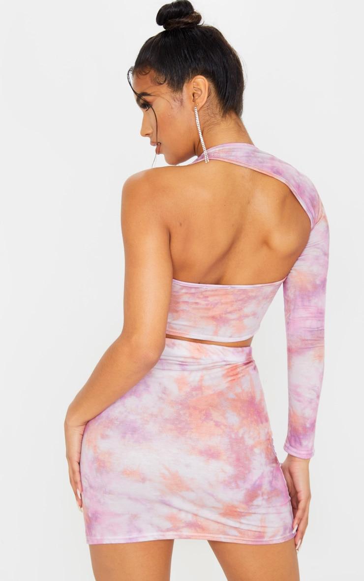 Pink Tie Dye One Shoulder Asymmetric Crop Top 2