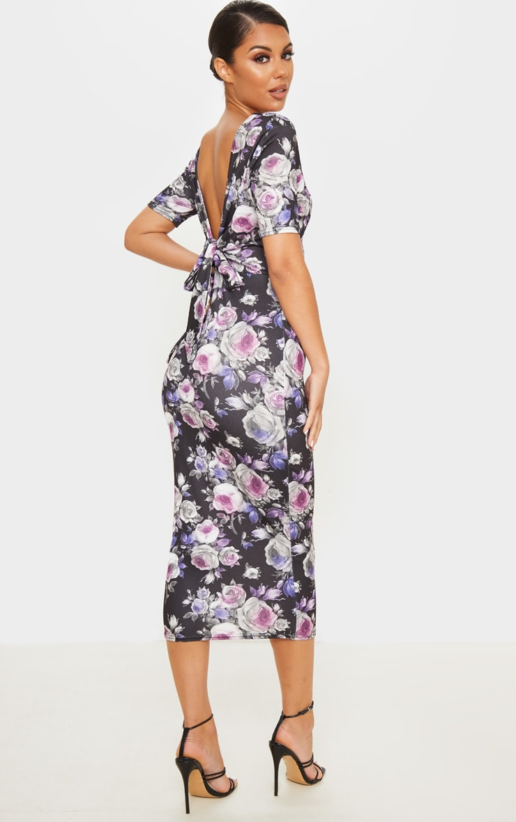 Black Floral Print Tie Back Short Sleeve Midi Dress