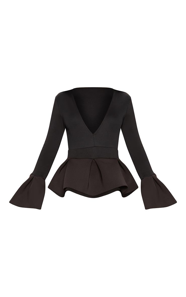 Black Frill Sleeve Peplum Jumpsuit 3