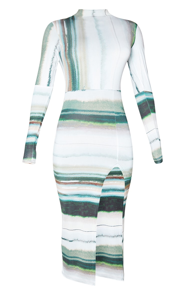 Green Linear Print High Neck Long Sleeve Slinky Midi Dress 5