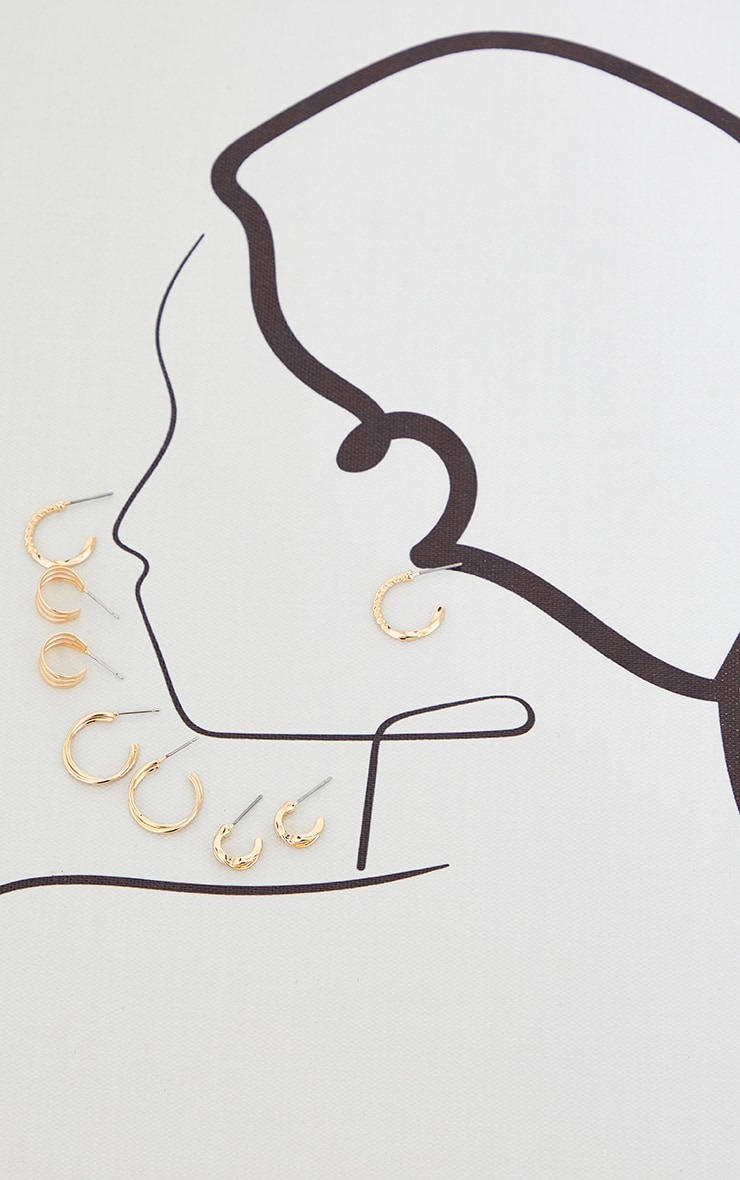 Gold Assorted Dainty Hoop and Ear Cuff Pack 1