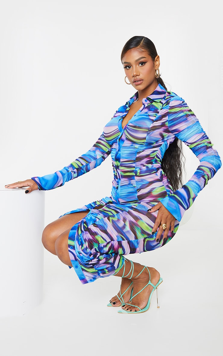 Blue Abstract Print Mesh Ruched Long Sleeve Midi Shirt Dress 1