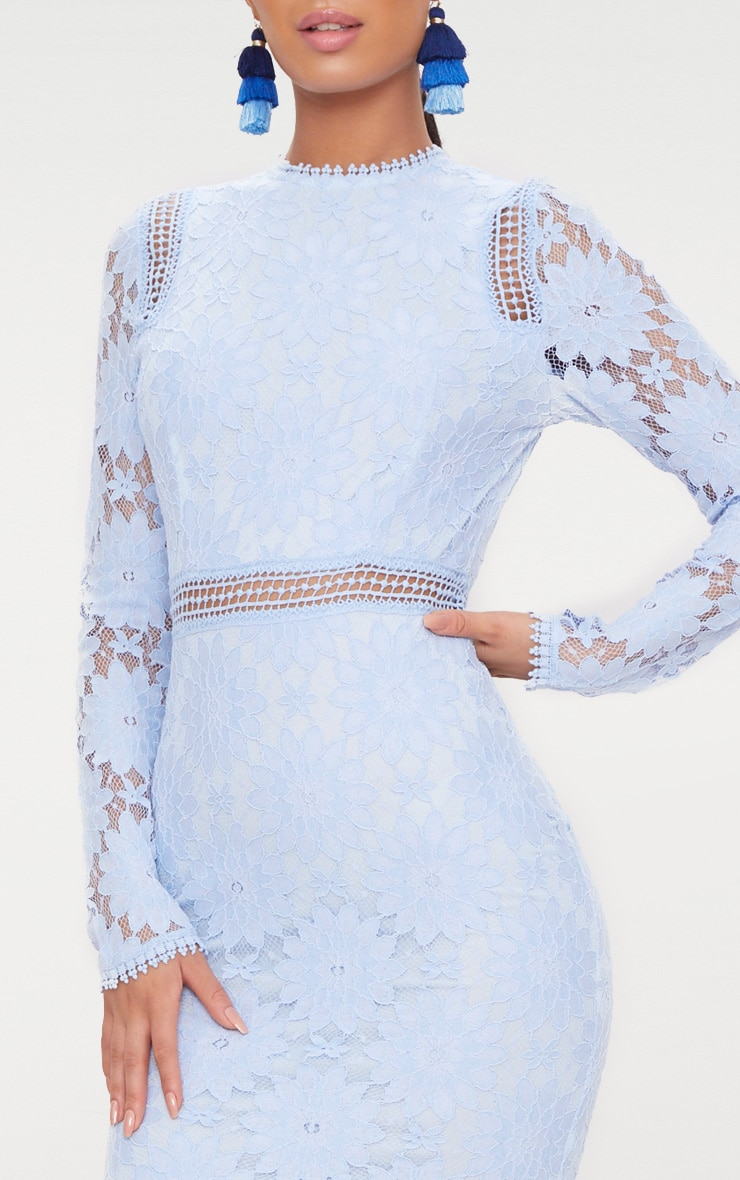 Dusty Blue Long Sleeve Lace Bodycon Dress 5