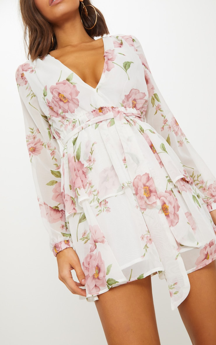 White Floral Chiffon Double Tier Plunge Skater Dress 5