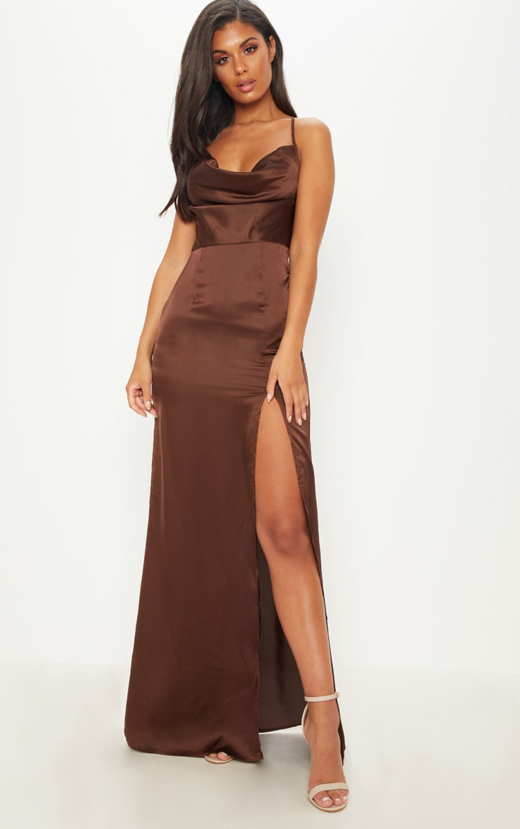 CHOCOLATE BROWN COWL NECK SPLIT DETAIL MAXI DRESS