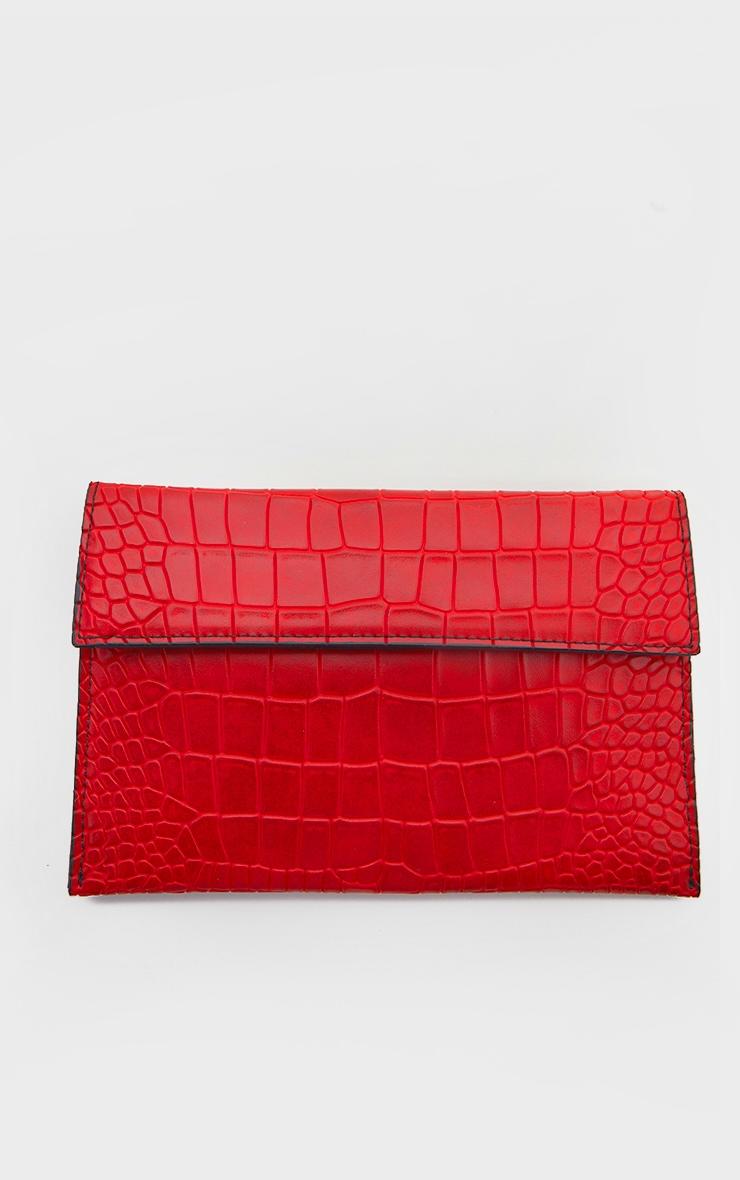 Red Croc Clutch Bag     2