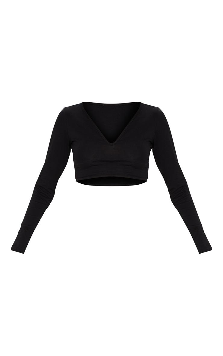 Basic Black Long Sleeve Deep V Crop Top 3