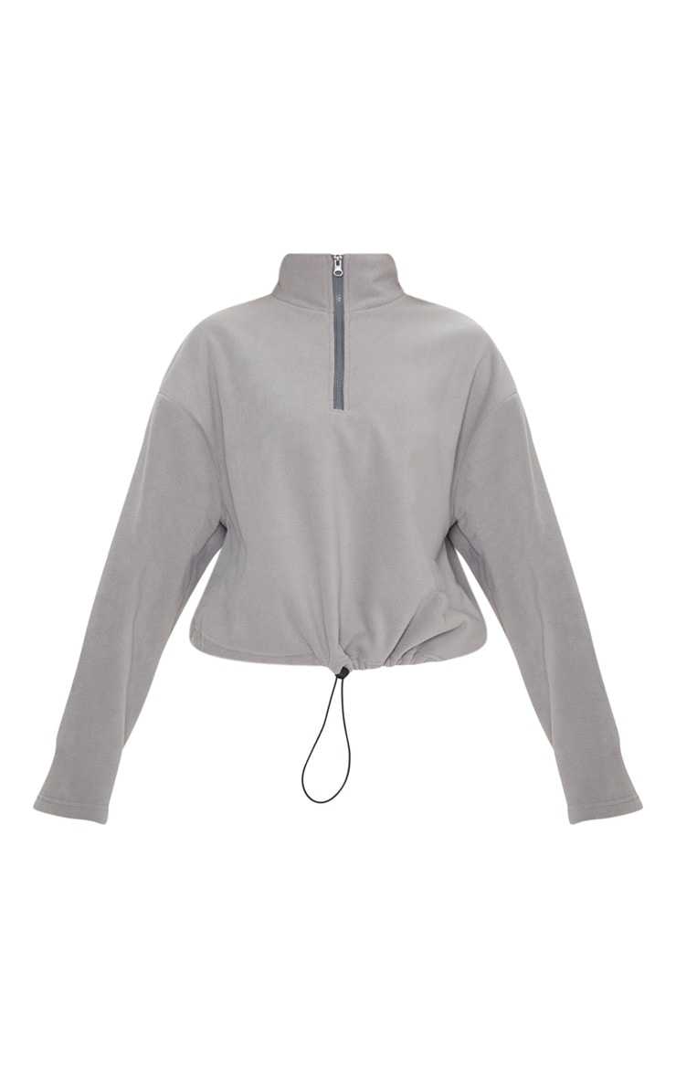 Grey Zip Front Crop Fleece Sweater 3