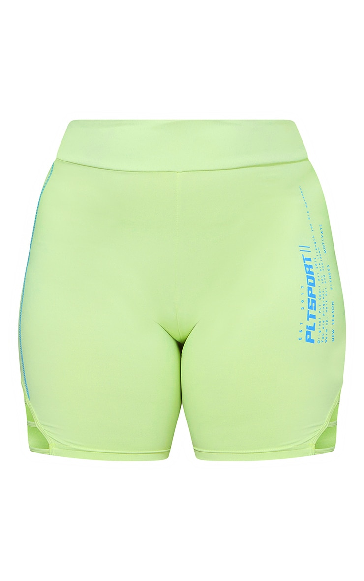 Plus Lime Cut Out Piping Detail Bike Shorts 6