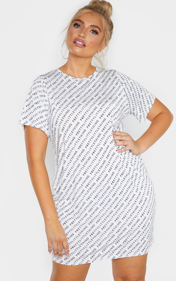 PRETTYLITTLETHING Plus White Oversized T-Shirt Dress  1