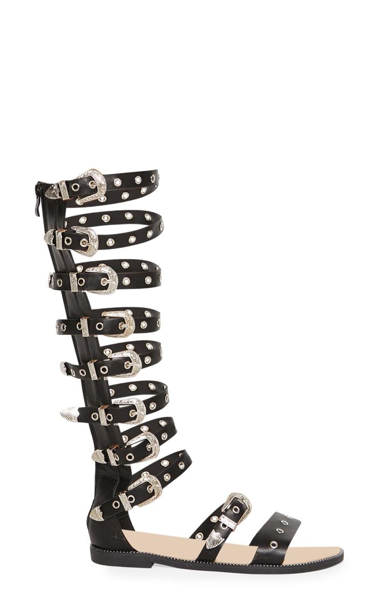 Sandales montantes gladiateur noires à boucles western 3