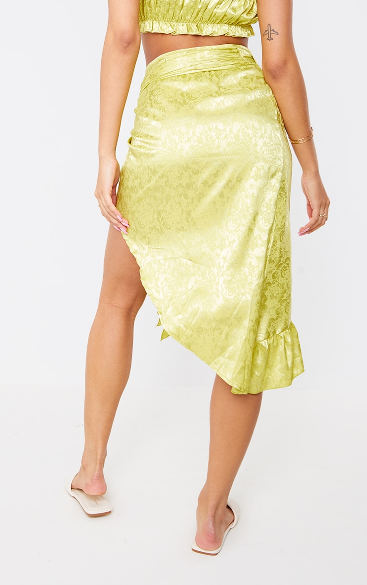 Lime Green Printed Satin Frill Hem Tie Waist Midi Skirt 3