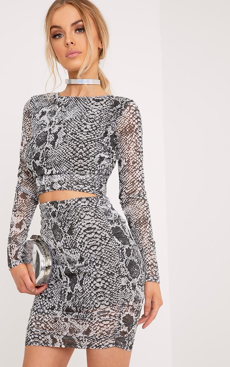 Dreis Black Snake Print Chiffon Mini Skirt 1