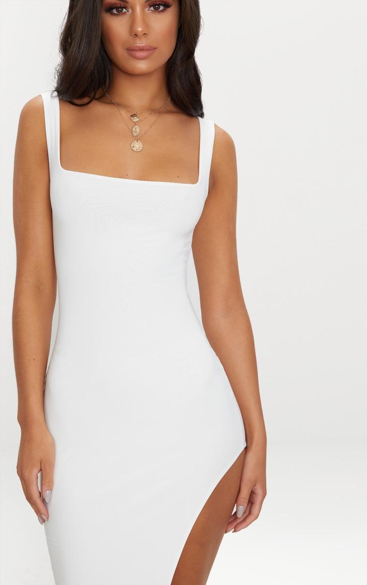 White Double Layer Slinky Square Neck Extreme Split Midi Dress 5