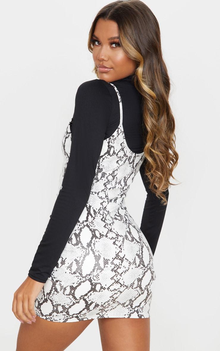 White Snake Print Faux Leather 2In1 Strappy Bodycon Dress 3