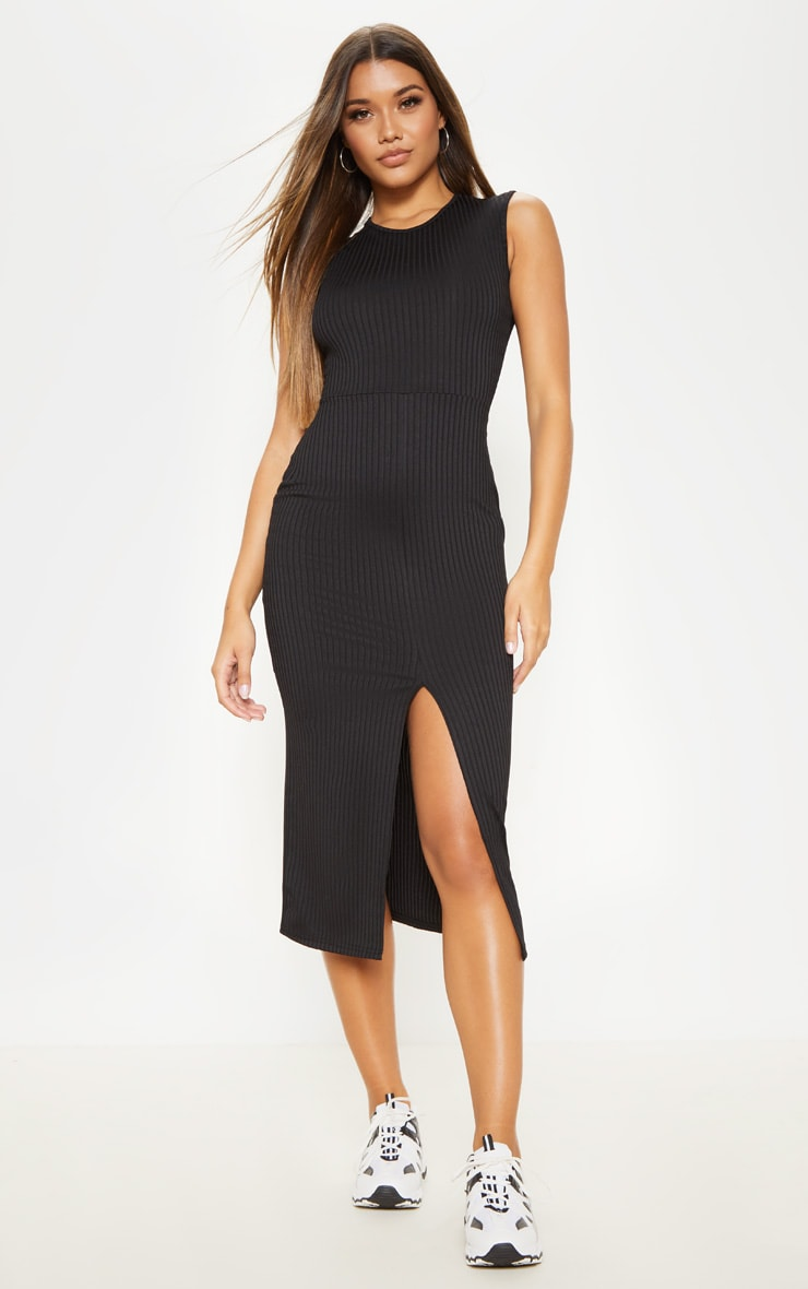 Black Split Front Ribbed Midi Dress 1