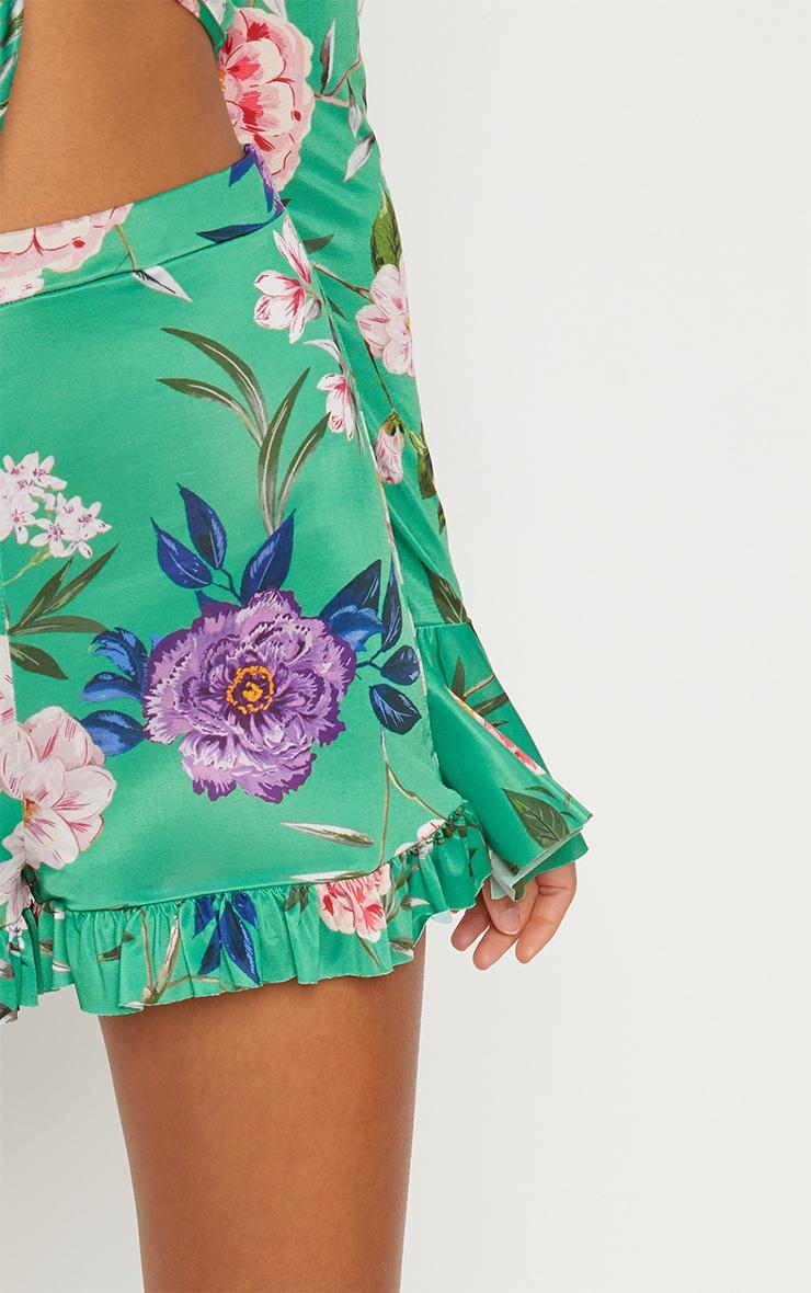 Green Slinky Floral Frill Hem Shorts  6