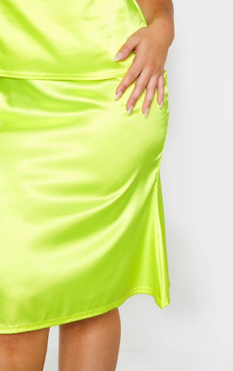 Plus Neon Yellow Satin Flare Hem Midi Skirt 5