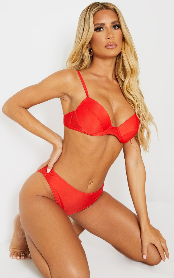 Recycled Red Mix & Match Push Up Cupped Bikini Top 1